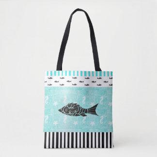 Tropical Fish and Seahorse Nautical Tote Bag