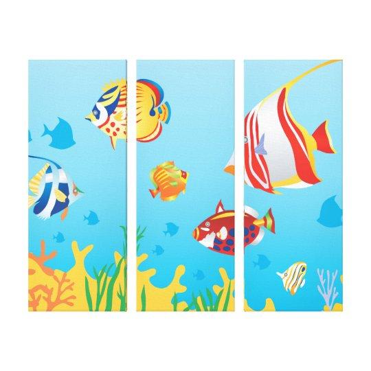 Tropical fish Aquarium 3 Panel art Canvas Print