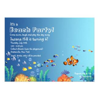 Tropical Fish Beach Birthday Party Invitation