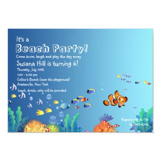 Tropical Fish Beach Birthday Party Invitation