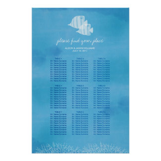 Tropical fish beach wedding dinner seating chart poster