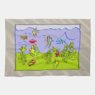 TROPICAL FISH, CLEAR OCEAN WATER SNORKELING VIEW KITCHEN TOWEL
