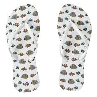 Tropical Fish Frenzy Flip Flops (Choose Colour)