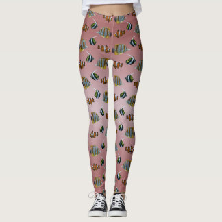 Tropical Fish Frenzy Leggings (Dusty Pink Mix)