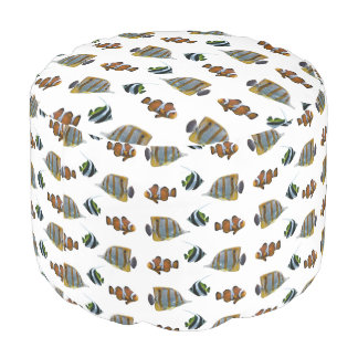 Tropical Fish Frenzy Pouf (choose colour)