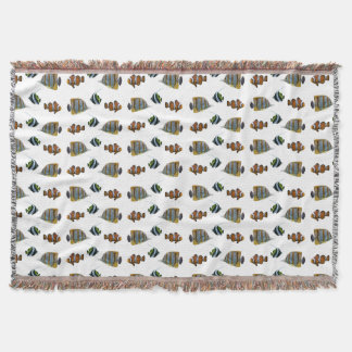 Tropical Fish Frenzy Throw Blanket (choose colour)