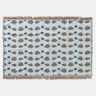 Tropical Fish Frenzy Throw Blanket (Light Blue)