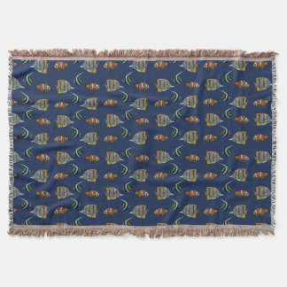 Tropical Fish Frenzy Throw Blanket (Navy)