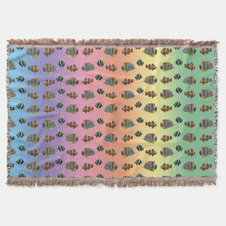 Tropical Fish Frenzy Throw Blanket (Rainbow)