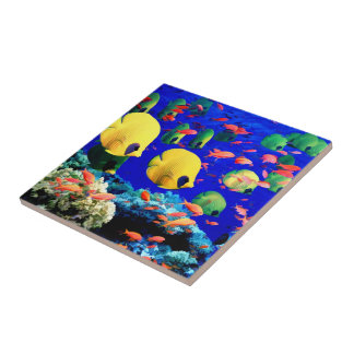 Tropical Fish in Coral Sea Tile