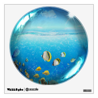 Tropical Fish in Ocean Glass Sphere Wall Decal