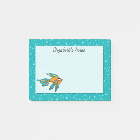 Tropical Fish Orange and Blue Personalized Post-it Notes