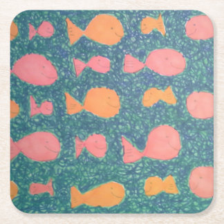 Tropical Fish Painted Pattern Square Paper Coaster