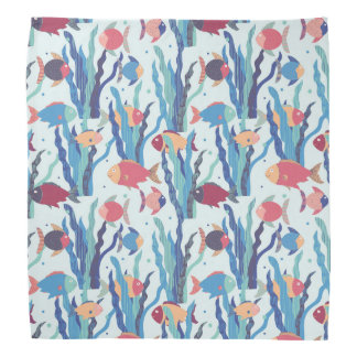 Tropical Fish Pattern in Blue Maroon and Apricot Bandana