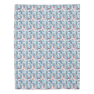 Tropical Fish Pattern in Blue Maroon and Apricot Duvet Cover