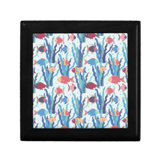 Tropical Fish Pattern in Blue Maroon and Apricot Keepsake Box