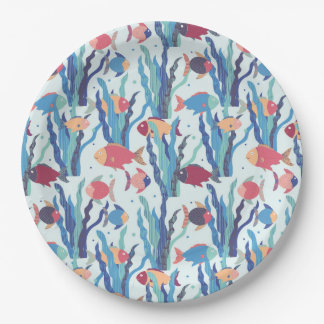 Tropical Fish Pattern in Blue Maroon and Apricot Paper Plate