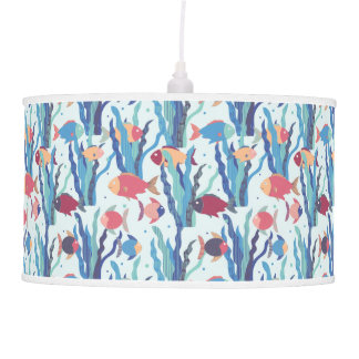 Tropical Fish Pattern in Blue Maroon and Apricot Pendant Lamp