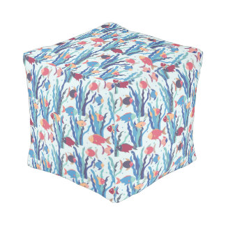 Tropical Fish Pattern in Blue Maroon and Apricot Pouf
