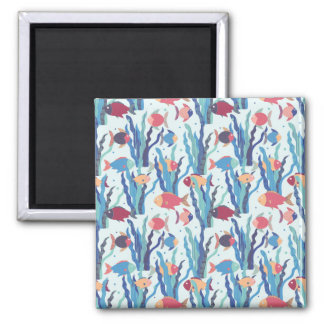 Tropical Fish Pattern in Blue Maroon and Apricot Square Magnet