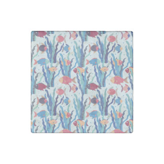 Tropical Fish Pattern in Blue Maroon and Apricot Stone Magnets