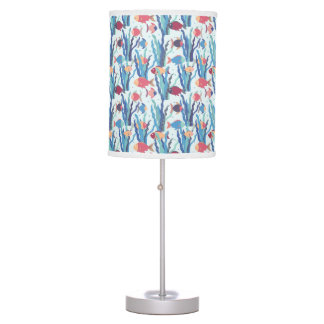 Tropical Fish Pattern in Blue Maroon and Apricot Table Lamp