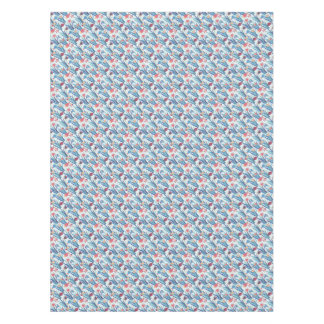Tropical Fish Pattern in Blue Maroon and Apricot Tablecloth