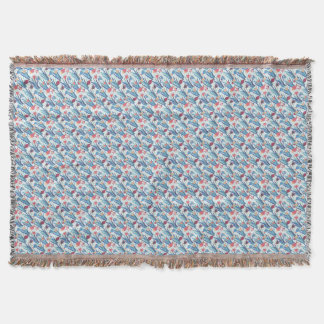 Tropical Fish Pattern in Blue Maroon and Apricot Throw Blanket