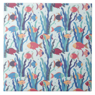 Tropical Fish Pattern in Blue Maroon and Apricot Tile
