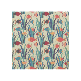 Tropical Fish Pattern in Blue Maroon and Apricot Wood Print