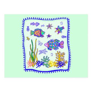 Tropical Fish Quilt Postcard