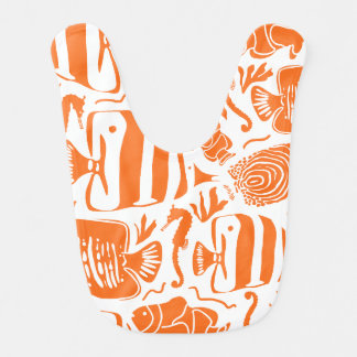 Tropical Fish Tank Illustration Orange Bib
