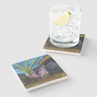 Tropical Fish Watercolor Painting Stone Coaster
