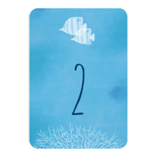 Tropical fish watercolor wedding table number card