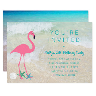 Tropical Flamingo Beach Birthday Party Invitation