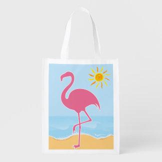 Tropical Flamingo Beach Reusable Grocery Bag