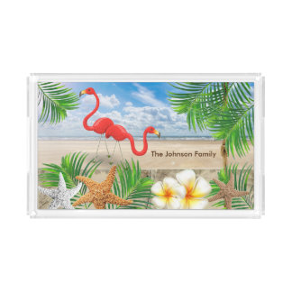 Tropical Flamingo Birds in Paradise Acrylic Tray