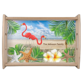 Tropical Flamingo Birds in Paradise Serving Tray