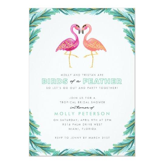 Tropical Flamingo Bridal Shower Invitation