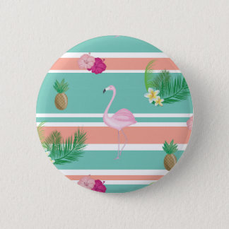 Tropical Flamingo Button Badge