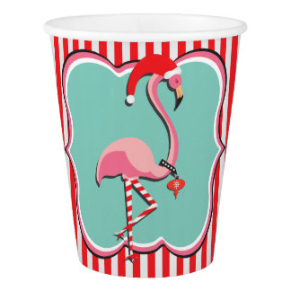 Tropical Flamingo Christmas Party paper cups