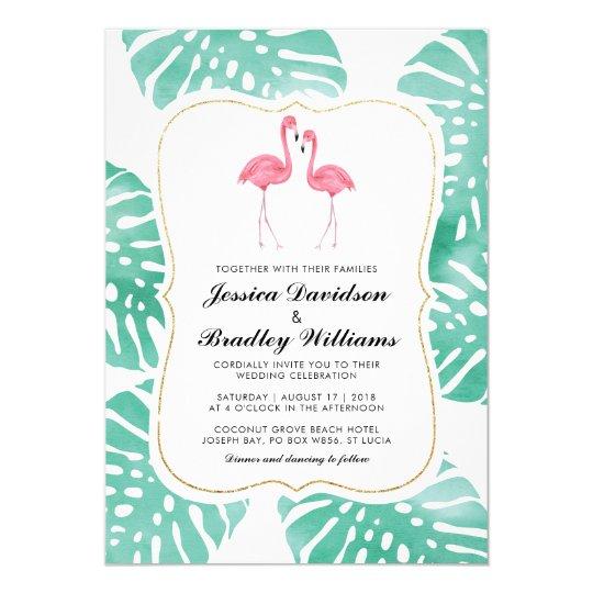 Tropical Flamingo Couple Beach Destination Wedding Card