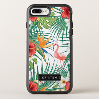Tropical Flamingo Floral Leaves Monogram Name OtterBox Symmetry iPhone 8 Plus/7 Plus Case