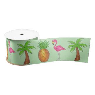 Tropical Flamingo Green Palm Tree Pineapple Ribbon Satin Ribbon
