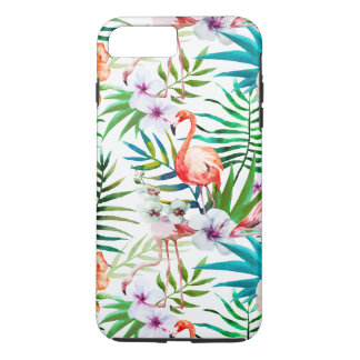 Tropical Flamingo Hibiscus Apple Iphone 7+ Case