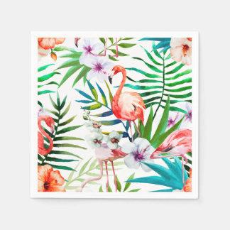 Tropical Flamingo Hibiscus Cocktail Paper Napkins