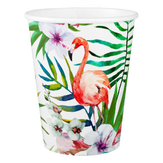 Tropical Flamingo Hibiscus Paper Cup