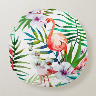 Tropical Flamingo Hibiscus Rounded Pillow