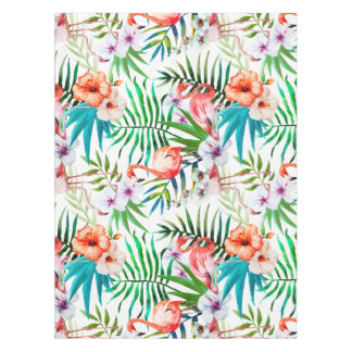 Tropical Flamingo Hibiscus Tablecloth