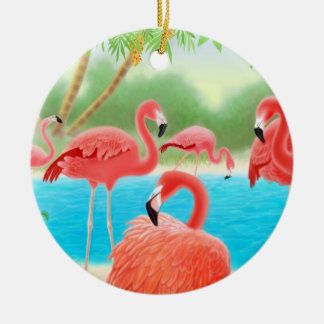 Tropical Flamingo Lagoon Ornament